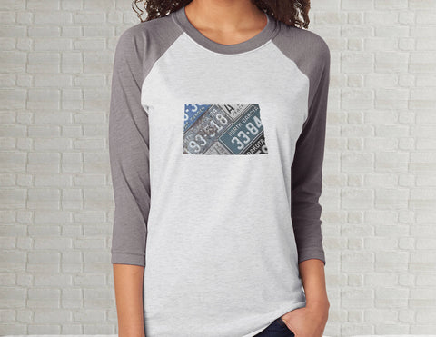 North Dakota Raglan T-Shirt | Adult Unisex Tee Shirt