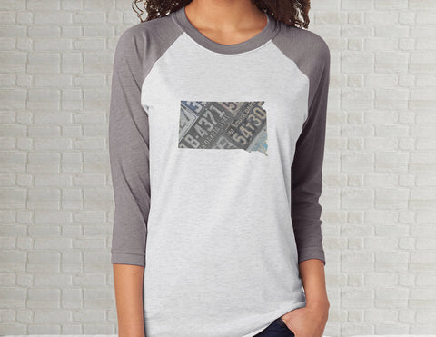 South Dakota Raglan T-Shirt | Adult Unisex Tee Shirt