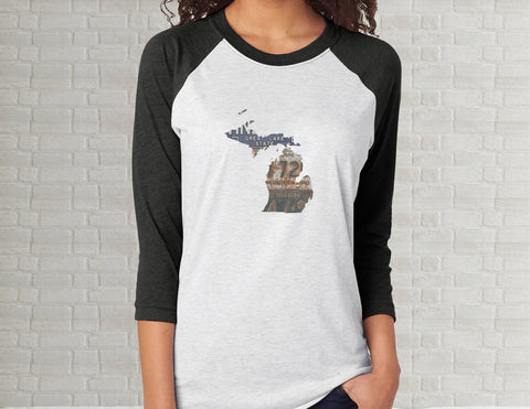 Michigan Raglan T-Shirt | Adult Unisex Tee Shirt