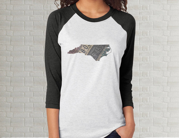 North Carolina Raglan T-Shirt | Adult Unisex Tee Shirt