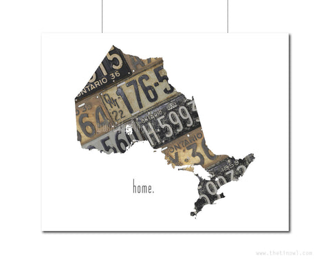 Ontario Home Print | Canadian Province Outline Art