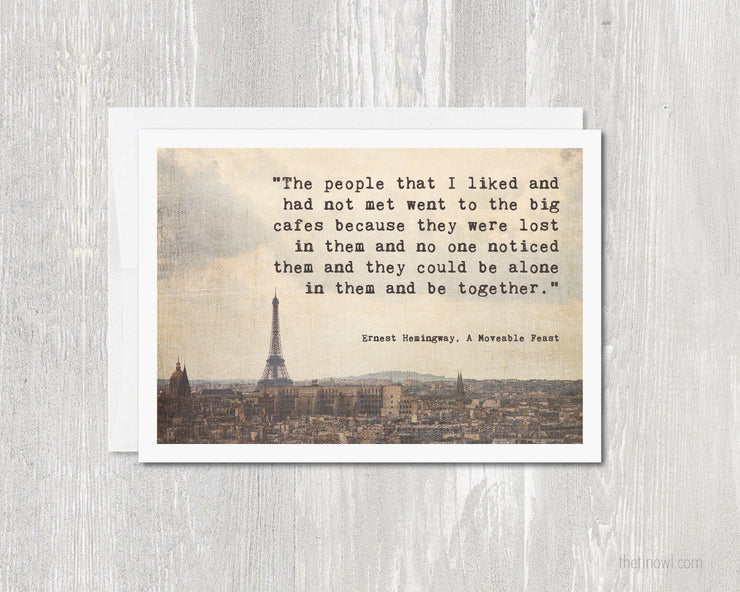 Greeting Card - Hemingway in Paris