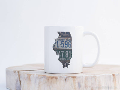 Illinois Vintage License Plate Mug | Coffee Mug 11 oz