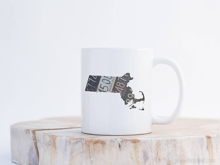Massachusetts Vintage License Plate Mug | Coffee Mug 11 oz