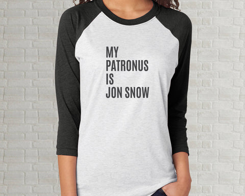 My Patronus Is Jon Snow Raglan Tee - Adult Unisex T-Shirt - Charcoal Gray White
