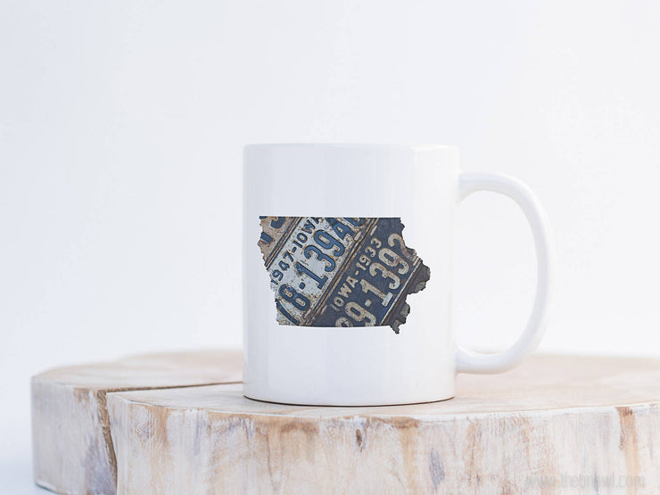 Iowa Vintage License Plate Mug | Coffee Mug 11 oz