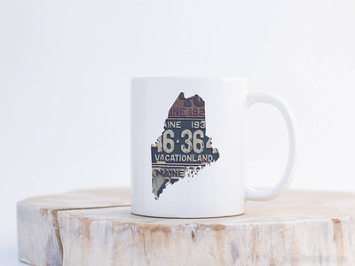 Maine Vintage License Plate Mug | Coffee Mug 11 oz