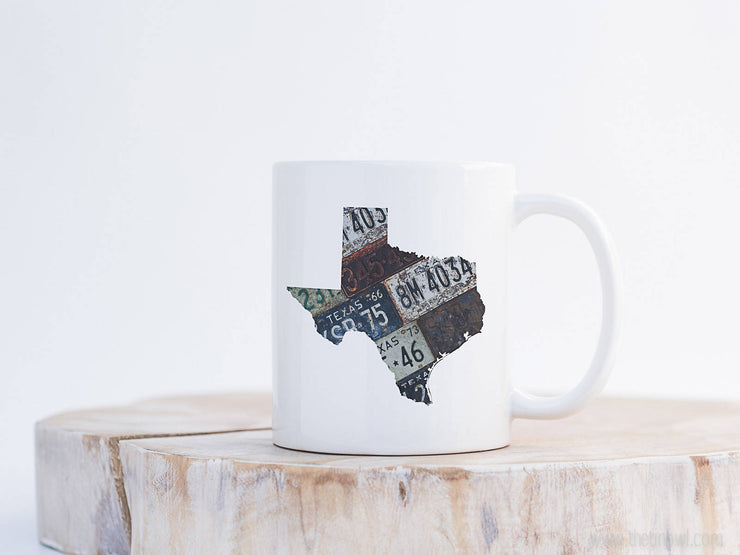 Texas Vintage License Plate Mug | Coffee Mug 11 oz