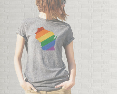 Wisconsin Pride T-Shirt | Unisex Shirt | Rainbow | Wisconsin Home Pride State Outline | Heather Gray