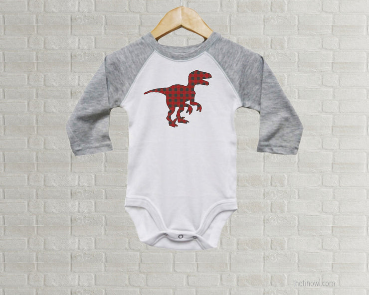 Baby Romper - Buffalo Plaid T-Rex