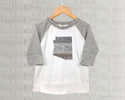 Arizona Youth Raglan T-Shirt - Vintage License Plate Art