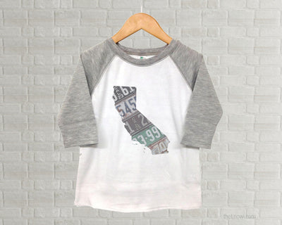 California Youth Raglan T-Shirt - Vintage License Plate Art