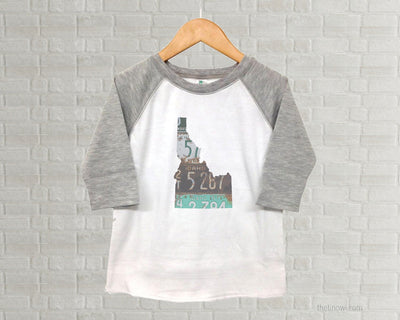 Idaho Youth Raglan T-Shirt - Vintage License Plate Art
