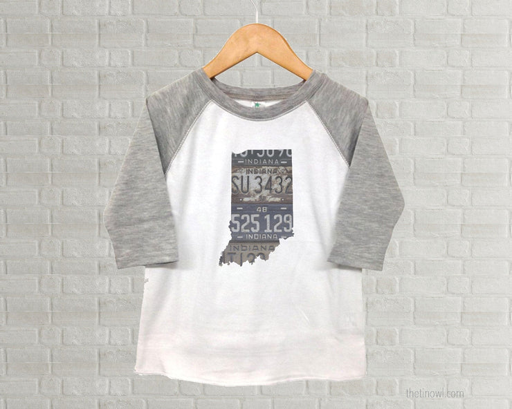 Indiana Youth Raglan T-Shirt - Vintage License Plate Art