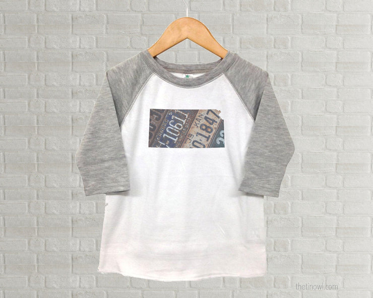 Kansas Youth Raglan T-Shirt - Vintage License Plate Art
