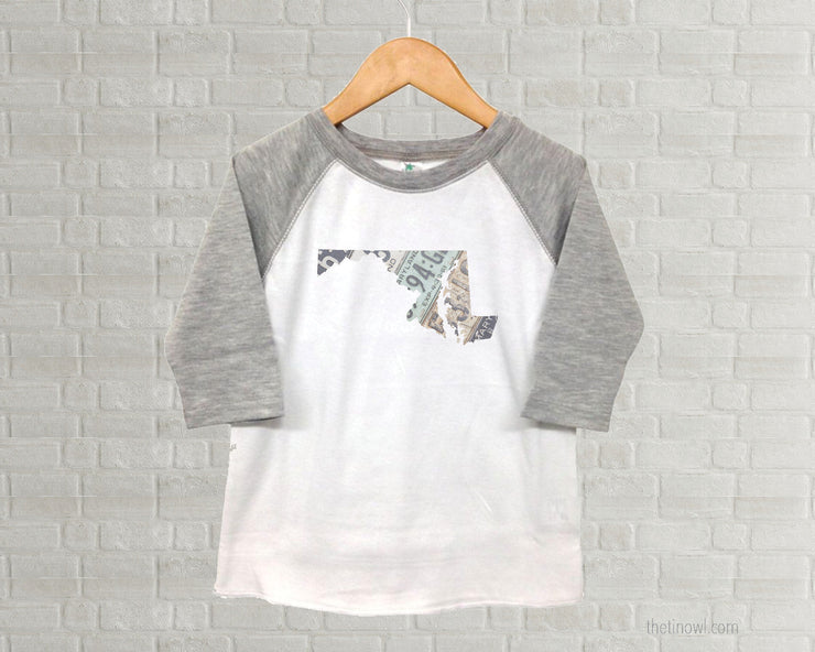 Maryland Youth Raglan T-Shirt - Vintage License Plate Art