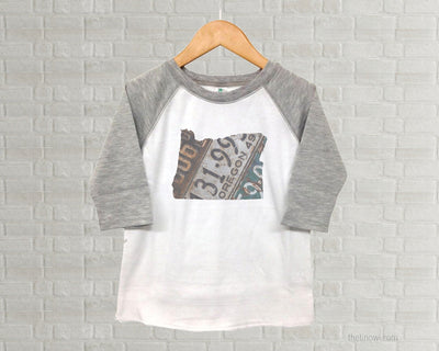 Oregon Youth Raglan T-Shirt - Vintage License Plate Art