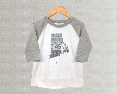 Rhode Island Youth Raglan T-Shirt - Vintage License Plate Art