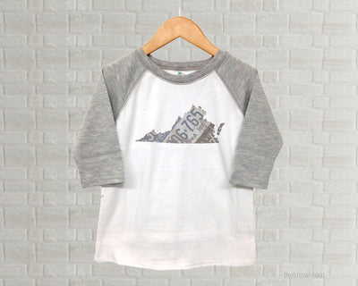 Virginia Youth Raglan T-Shirt - Vintage License Plate Art