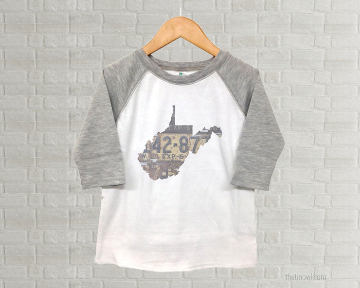 West Virginia Youth Raglan T-Shirt - Vintage License Plate Art