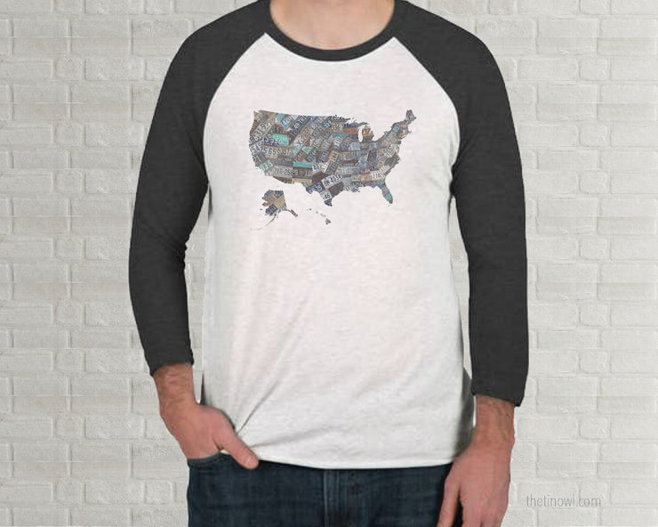 USA Raglan T-Shirt - Vintage License Plate Art