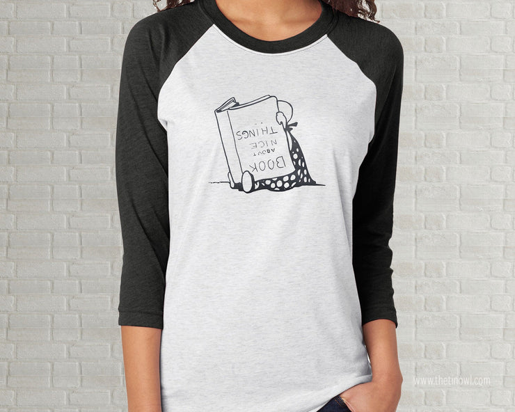 Adult Raglan T-Shirt - Books About Nice Things Vintage Illustration
