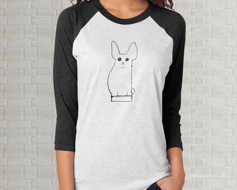 Bunny on a Book - Vintage Illustration Adult Raglan T-Shirt  - Charcoal Gray White