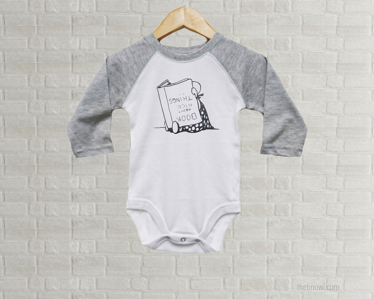 Vintage Book Illustration  - Baby Bodysuit Romper - Mint Gray White - Raglan