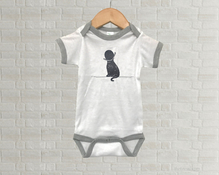 Baby Romper - Vintage Cat Illustration