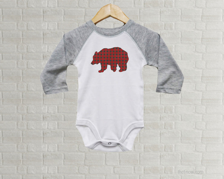 Baby Romper - Buffalo Plaid Bear