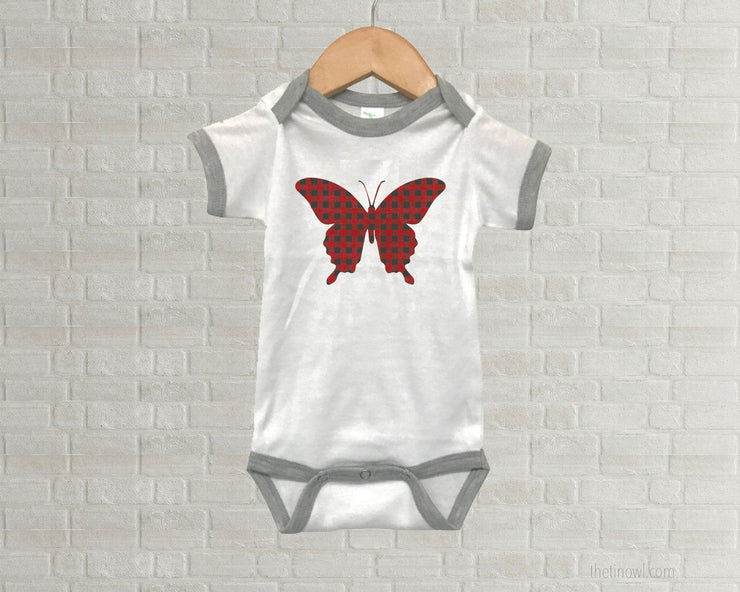 Baby Romper - Buffalo Plaid Butterfly