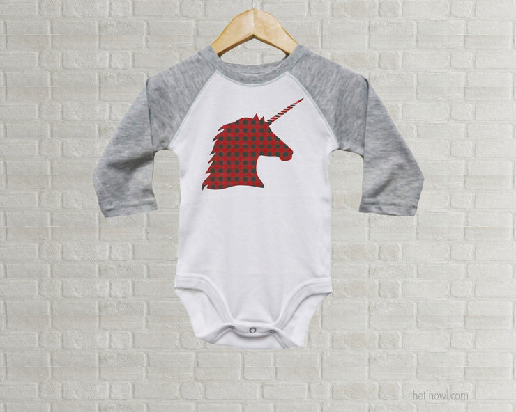 Baby Romper - Buffalo Plaid Unicorn