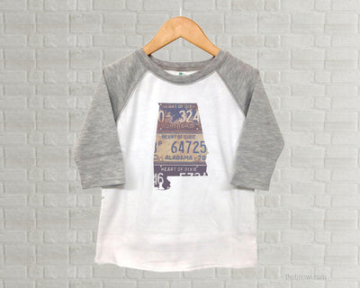 Alabama Youth Raglan T-Shirt - Vintage License Plate Art