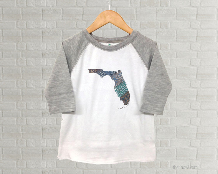 Florida Youth Raglan T-Shirt - Vintage License Plate Art