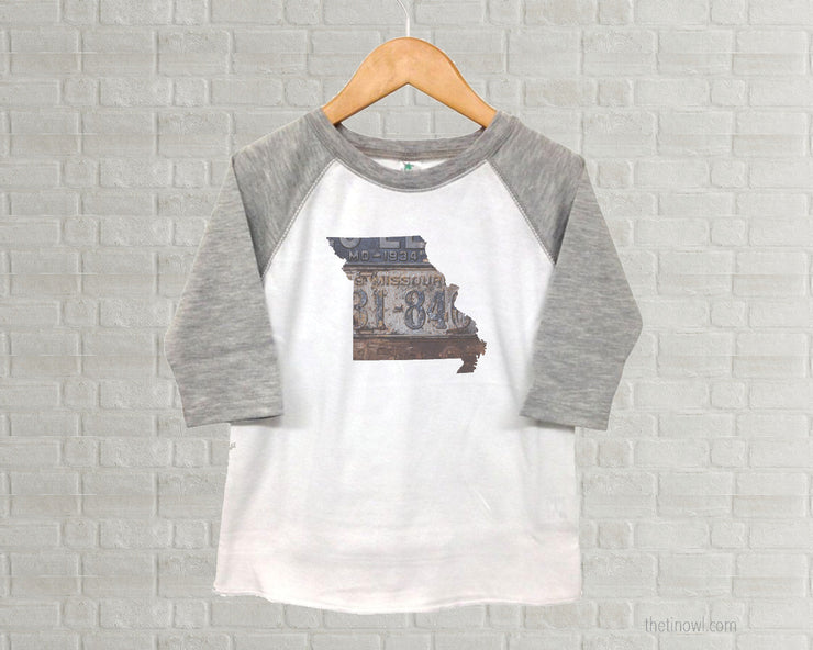 Missouri Youth Raglan T-Shirt - Vintage License Plate Art