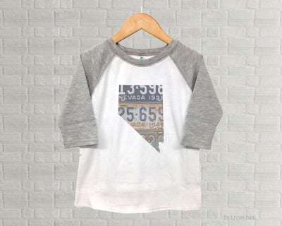 Nevada Youth Raglan T-Shirt - Vintage License Plate Art