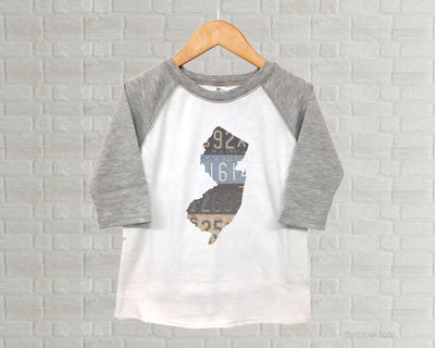 New Jersey Youth Raglan T-Shirt - Vintage License Plate Art