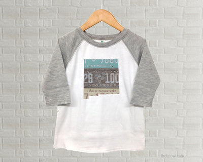 New Mexico Youth Raglan T-Shirt - Vintage License Plate Art