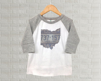Ohio Youth Raglan T-Shirt - Vintage License Plate Art