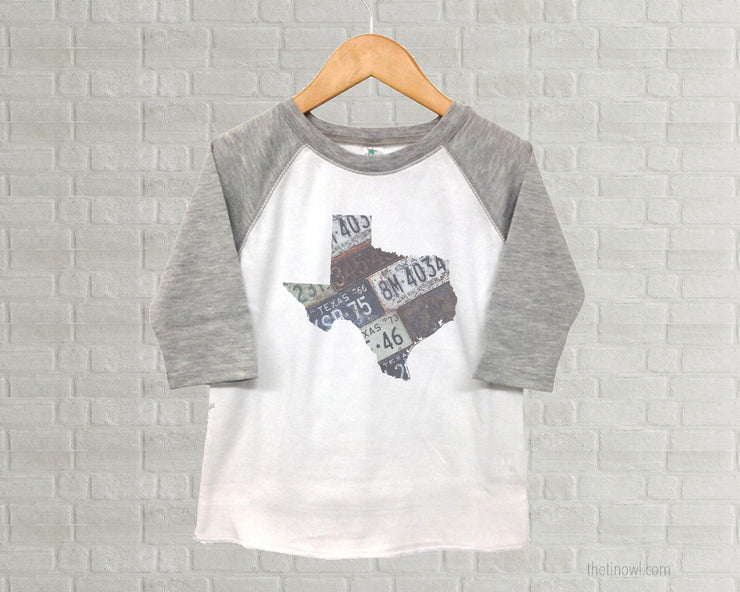 Texas Youth Raglan T-Shirt - Vintage License Plate Art