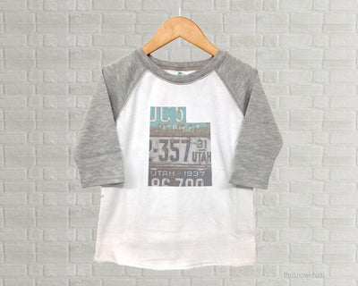 Utah Youth Raglan T-Shirt - Vintage License Plate Art