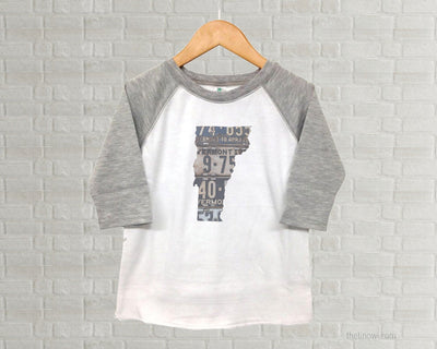 Vermont Youth Raglan T-Shirt - Vintage License Plate Art