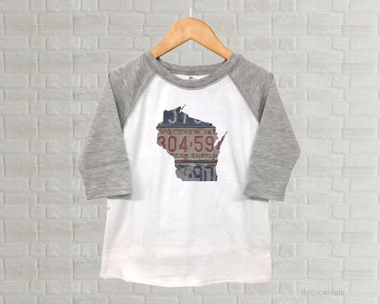 Wisconsin Youth Raglan T-Shirt - Vintage License Plate Art