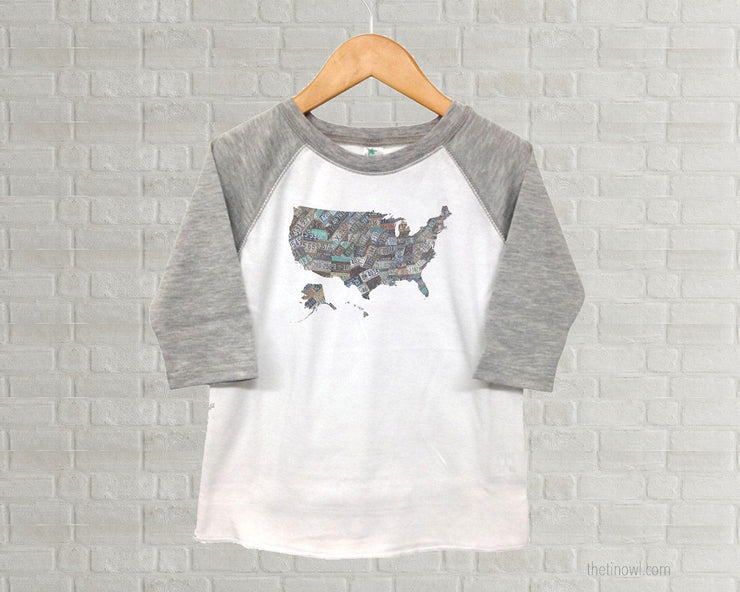 USA Youth Raglan T-Shirt - Vintage License Plate Art