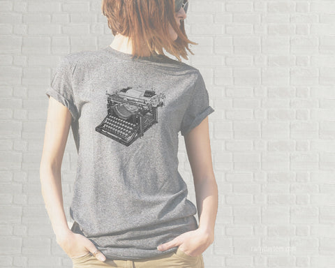 Vintage Typewriter Adult T-Shirt  - Heather Gray