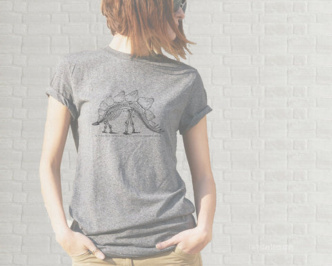 Vintage Stegosaurus Skeleton Adult T-Shirt  - Heather Gray