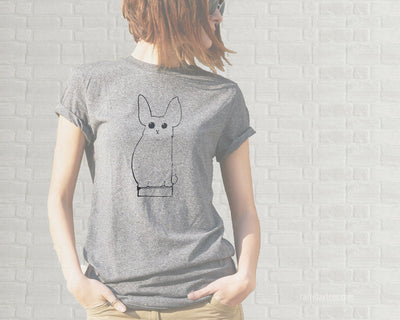 Adult T-Shirt - Bunny on a Book Illustration