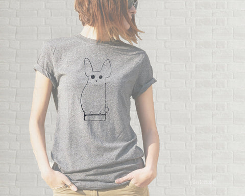 Bunny on a Book Illustration Adult T-Shirt  - Heather Gray - We Can Do It