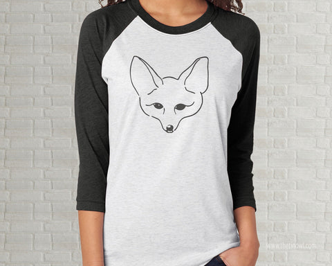 Fox Outline Vintage Illustration Adult Raglan T-Shirt  - Charcoal Gray White