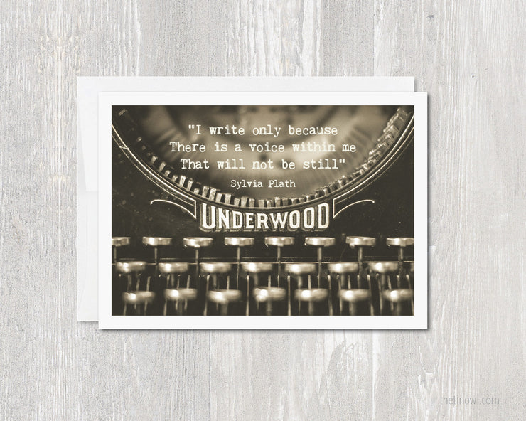 Greeting Card - Sylvia Plath Typewriter Quote